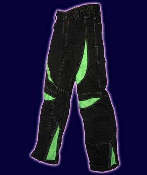 画像1: SPACE TRIBE ユニセックス・パンツ「Alien Eye Pants / ブラック & UV ライム」 (1)