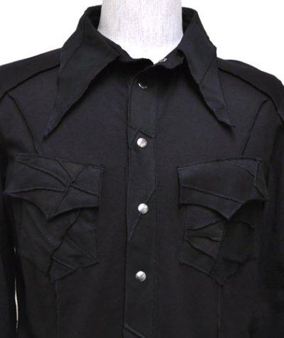 画像1: BONE メンズ・パッチワークシャツ / ブラック