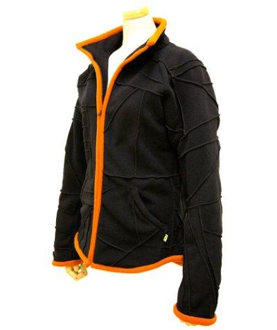 画像1: BONEレディース・パッチワークジャケット/ブラック&オレンジ