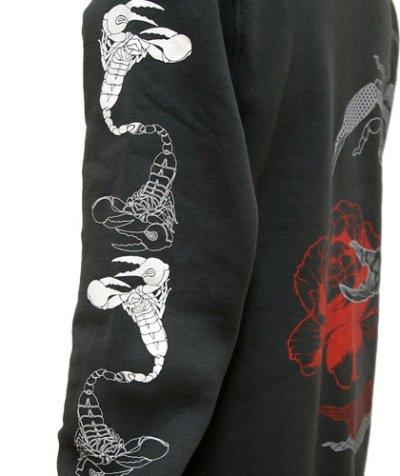 画像3: VISIBLE ELEPHANT 47ユニセックス・パーカー「#117 サソリに薔薇 / チャコール」