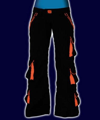 画像1: SPACE TRIBEユニセックスパンツ「 CRYSTAL /ブラック&オレンジ」