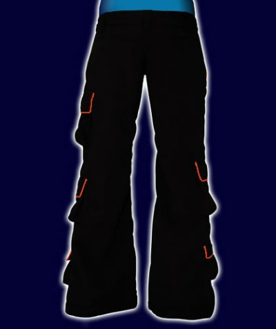 画像2: SPACE TRIBEユニセックスパンツ「 CRYSTAL /ブラック&オレンジ」