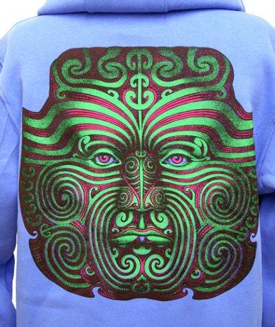 画像1: CHILL OUT PLANETメンズパーカー「Maori Face/ライトブルー」